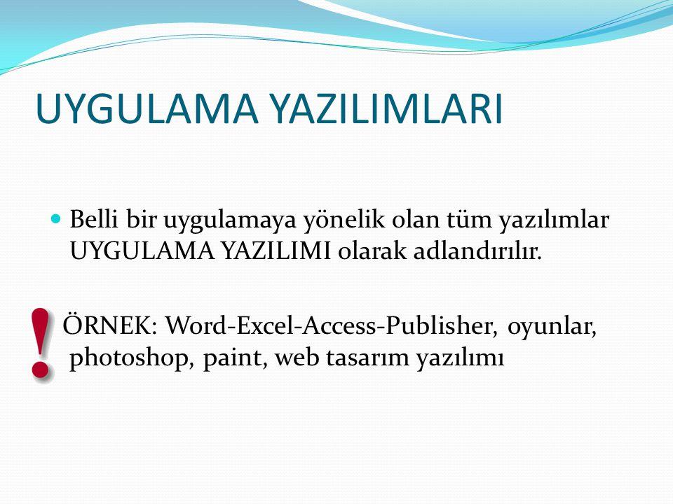 UYGULAMA YAZILIMLARI Belli bir uygulamaya yönelik olan tüm yazılımlar UYGULAMA YAZILIMI olarak adlandırılır. ÖRNEK: Word-Excel-Access-Publisher, oyunl