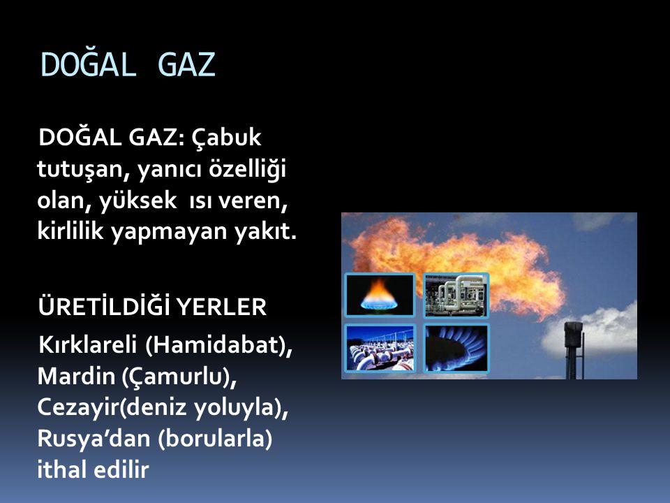 DOĞAL GAZ DOĞAL GAZ: Çabuk tutuşan, yanıcı özelliği olan, yüksek ısı veren, kirlilik yapmayan yakıt. ÜRETİLDİĞİ YERLER Kırklareli (Hamidabat), Mardin