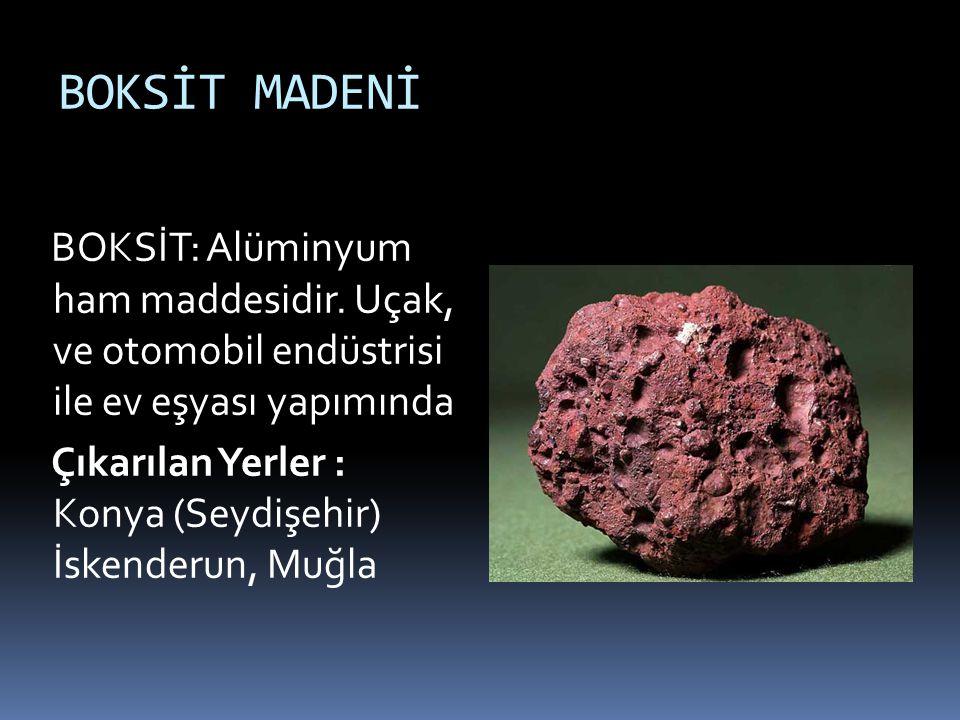 KÜKÜRT MADENİ KÜKÜRT: Haşerelere karşı Çıkarılan Yerler : Keçiborlu (Isparta) Denizli (Sarayköy), Burdur