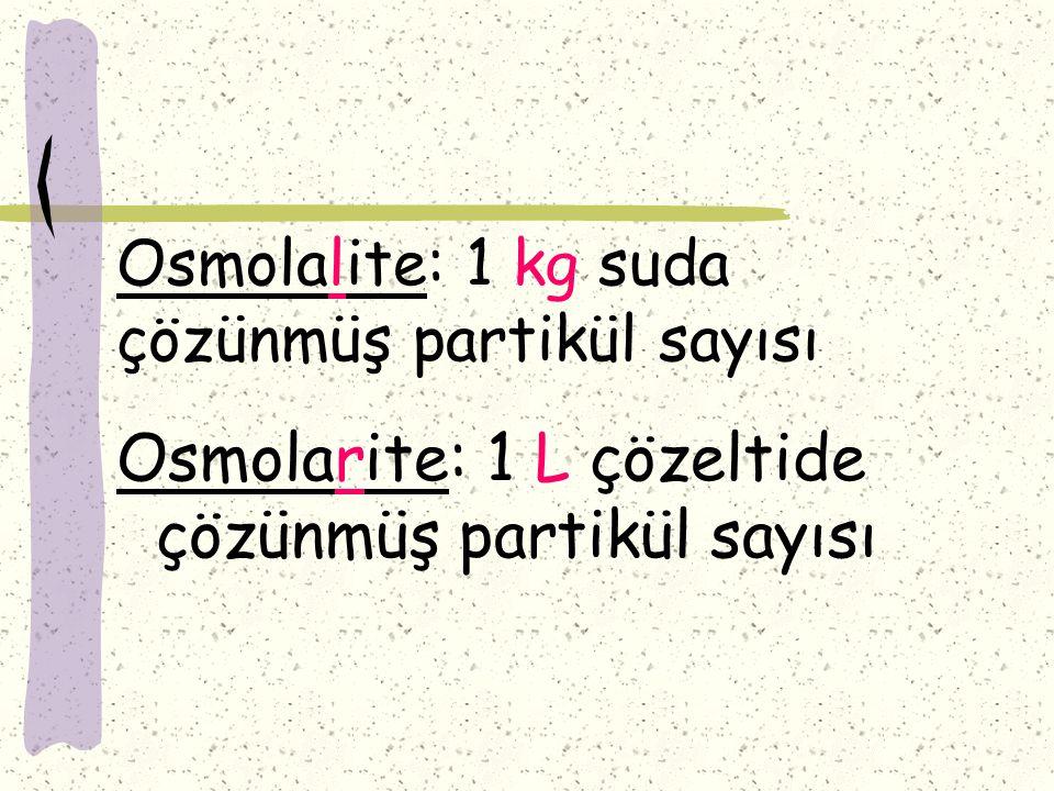 Osmolalite: 1 kg suda çözünmüş partikül sayısı Osmolarite: 1 L çözeltide çözünmüş partikül sayısı