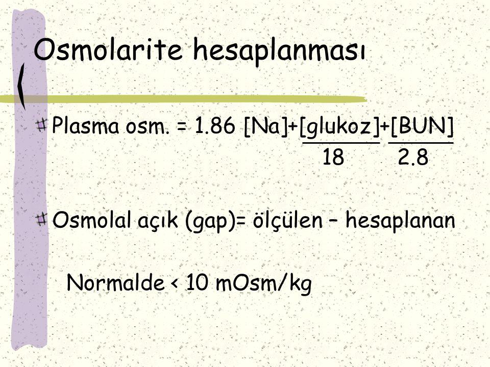 Osmolarite hesaplanması Plasma osm. = 1.86 [Na]+[glukoz]+[BUN] 18 2.8 Osmolal açık (gap)= ölçülen – hesaplanan Normalde < 10 mOsm/kg