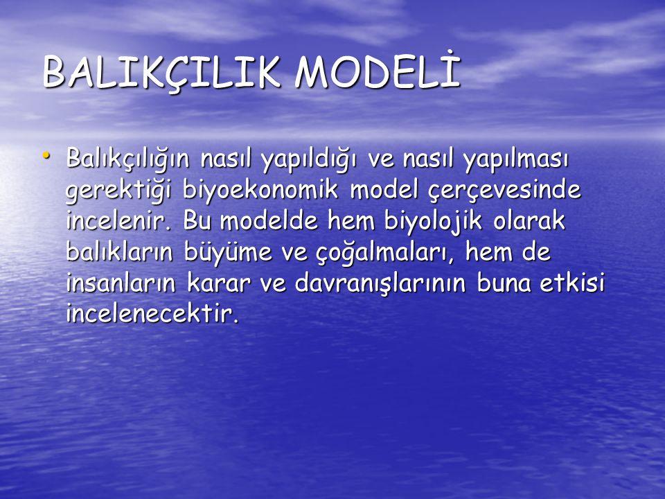BALIKÇILIK MODELİ Balıkçılığın nasıl yapıldığı ve nasıl yapılması gerektiği biyoekonomik model çerçevesinde incelenir. Bu modelde hem biyolojik olarak