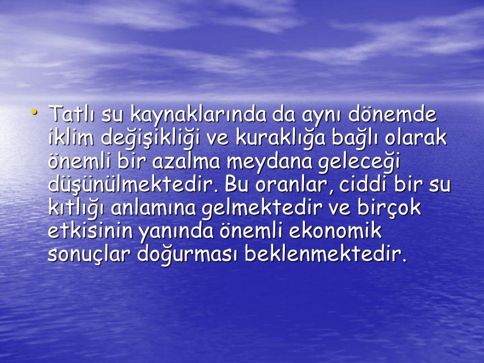 Su Ürünlerinin Türkiye deki Durumu Türkiye, 8333 km deniz kıyısı ve su ürünleri üretim alanı olarak kullanılabilecek 178.000 km uzunluğunda akarsu, yüzey alanları 200 bin hektarın üzerinde olan yaklaşık 2 200 adet doğal göl ve 3442 km genişliğinde baraj gölüne sahiptir.