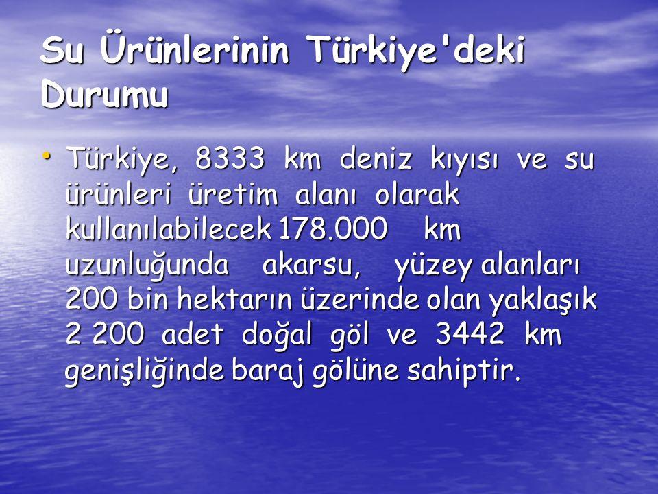 Su Ürünlerinin Türkiye'deki Durumu Türkiye, 8333 km deniz kıyısı ve su ürünleri üretim alanı olarak kullanılabilecek 178.000 km uzunluğunda akarsu, yü
