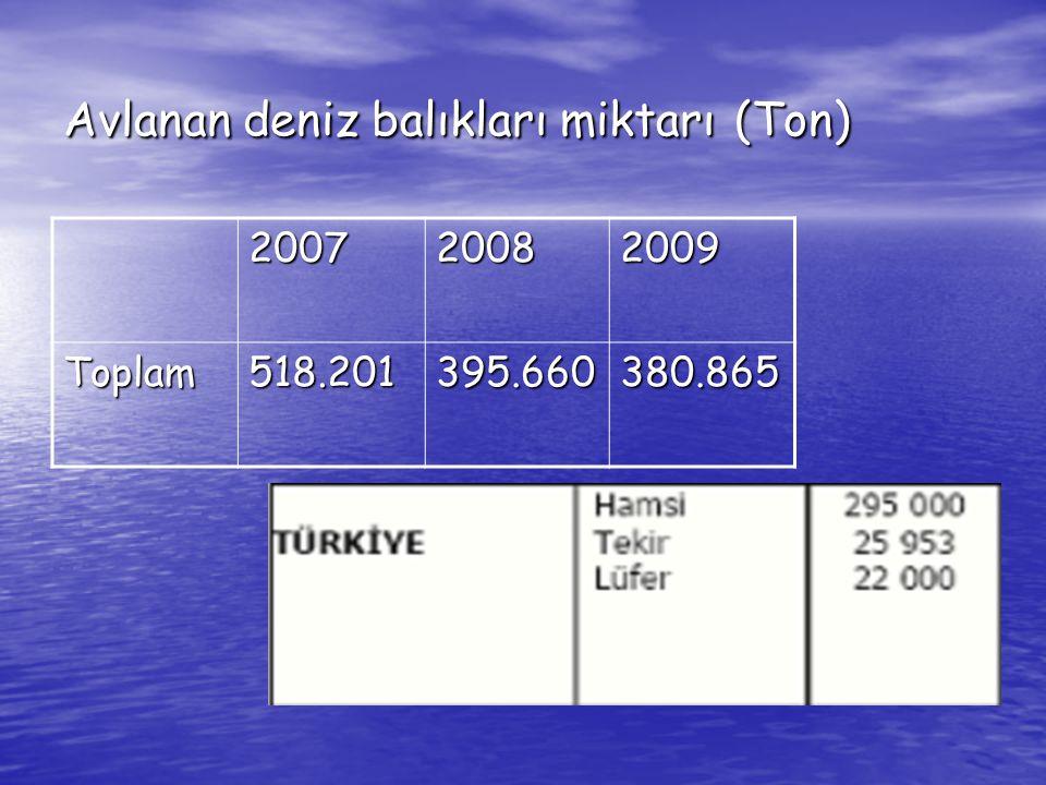 Avlanan deniz balıkları miktarı (Ton) 200720082009 Toplam518.201395.660380.865