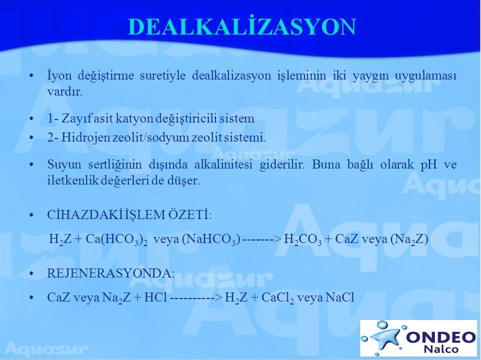 DEALKALİZASYON İyon değiştirme suretiyle dealkalizasyon işleminin iki yaygın uygulaması vardır. 1- Zayıf asit katyon değiştiricili sistem 2- Hidrojen