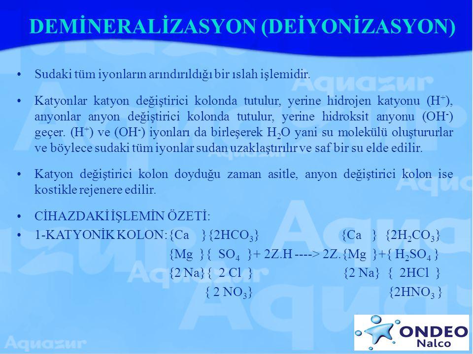 DEMİNERALİZASYON (DEİYONİZASYON) Sudaki tüm iyonların arındırıldığı bir ıslah işlemidir. Katyonlar katyon değiştirici kolonda tutulur, yerine hidrojen