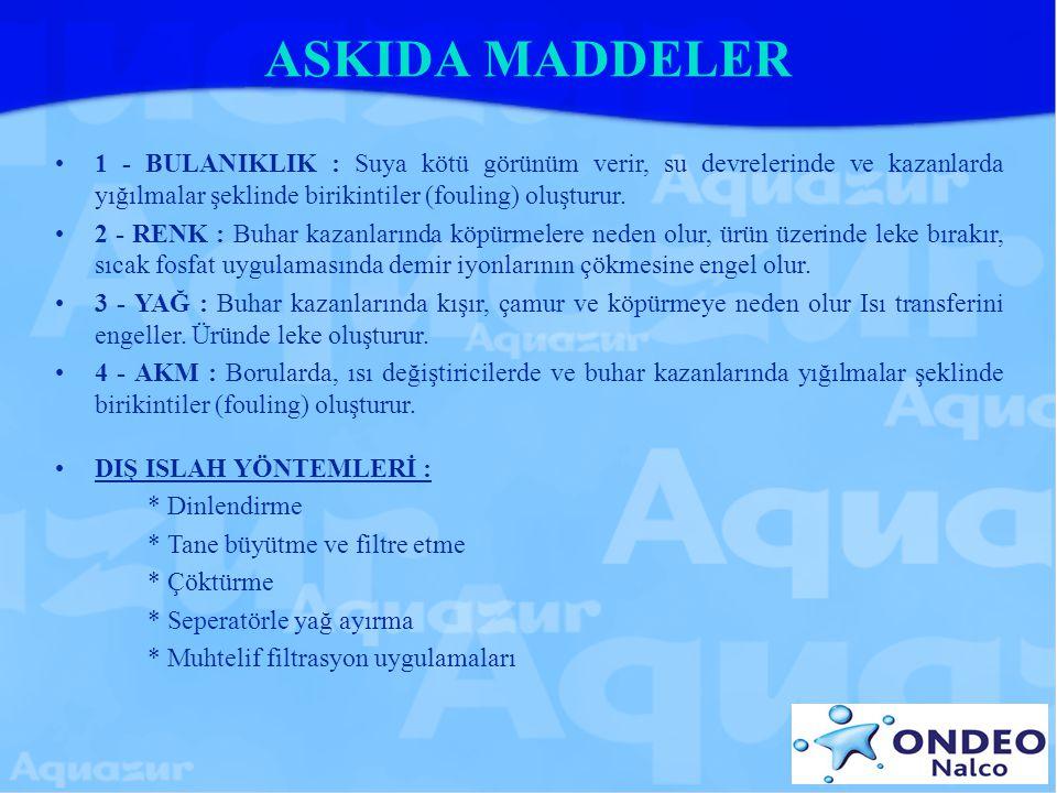 ASKIDA MADDELER 1 - BULANIKLIK : Suya kötü görünüm verir, su devrelerinde ve kazanlarda yığılmalar şeklinde birikintiler (fouling) oluşturur. 2 - RENK