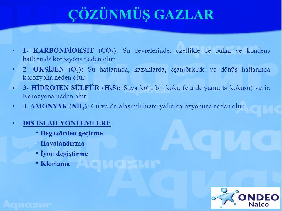 ÇÖZÜNMÜŞ GAZLAR 1- KARBONDİOKSİT (CO 2 ): Su devrelerinde, özellikle de buhar ve kondens hatlarında korozyona neden olur. 2- OKSİJEN (O 2 ): Su hatlar