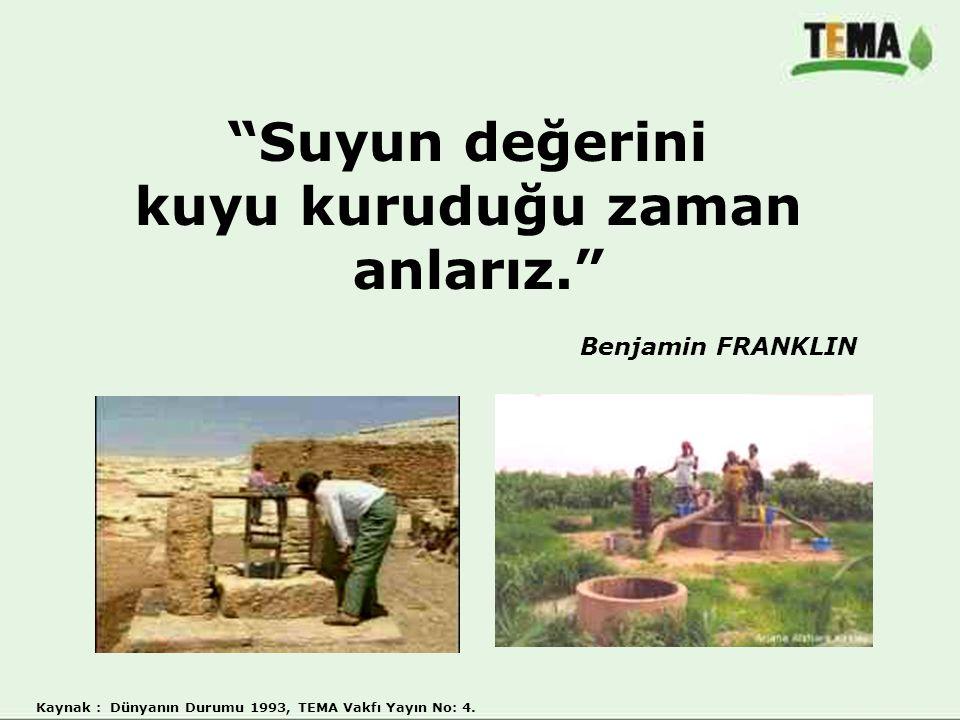 """""""Suyun değerini kuyu kuruduğu zaman anlarız."""" Benjamin FRANKLIN Kaynak : Dünyanın Durumu 1993, TEMA Vakfı Yayın No: 4."""