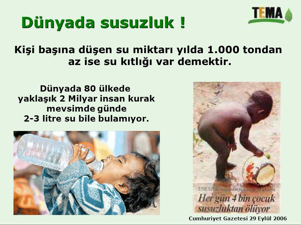 Dünyada susuzluk ! Dünyada 80 ülkede yaklaşık 2 Milyar insan kurak mevsimde günde 2-3 litre su bile bulamıyor. Kişi başına düşen su miktarı yılda 1.00