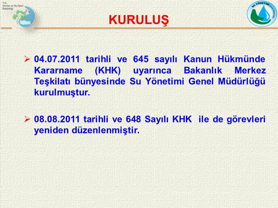  04.07.2011 tarihli ve 645 sayılı Kanun Hükmünde Kararname (KHK) uyarınca Bakanlık Merkez Teşkilatı bünyesinde Su Yönetimi Genel Müdürlüğü kurulmuştu