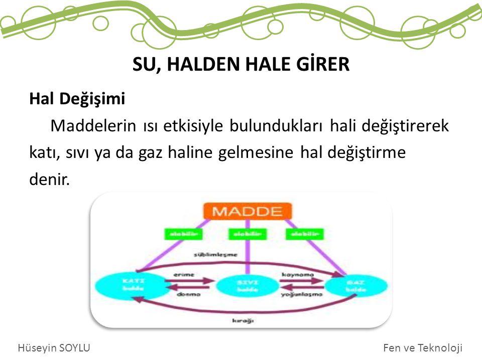 SU, HALDEN HALE GİRER Fen ve TeknolojiHüseyin SOYLU Hal Değişimi Maddelerin ısı etkisiyle bulundukları hali değiştirerek katı, sıvı ya da gaz haline g