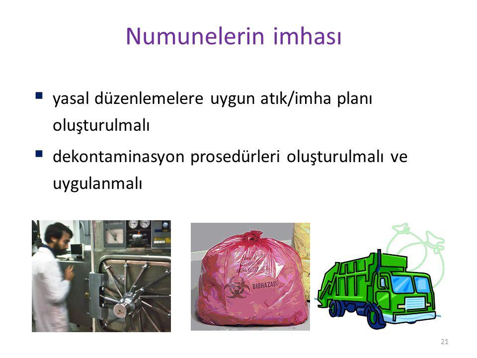 21 Numunelerin imhası  yasal düzenlemelere uygun atık/imha planı oluşturulmalı  dekontaminasyon prosedürleri oluşturulmalı ve uygulanmalı