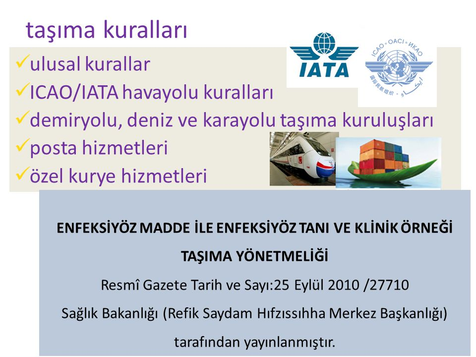 24 taşıma kuralları ulusal kurallar ICAO/IATA havayolu kuralları demiryolu, deniz ve karayolu taşıma kuruluşları posta hizmetleri özel kurye hizmetleri ENFEKSİYÖZ MADDE İLE ENFEKSİYÖZ TANI VE KLİNİK ÖRNEĞİ TAŞIMA YÖNETMELİĞİ Resmî Gazete Tarih ve Sayı:25 Eylül 2010 /27710 Sağlık Bakanlığı (Refik Saydam Hıfzıssıhha Merkez Başkanlığı) tarafından yayınlanmıştır.