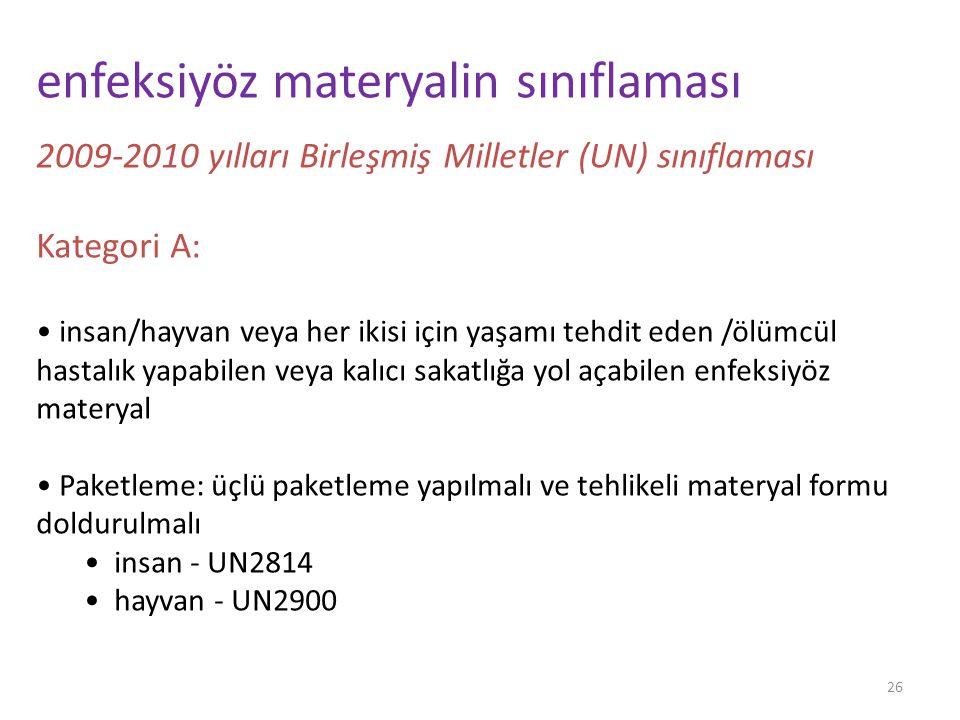 26 enfeksiyöz materyalin sınıflaması 2009-2010 yılları Birleşmiş Milletler (UN) sınıflaması Kategori A: insan/hayvan veya her ikisi için yaşamı tehdit eden /ölümcül hastalık yapabilen veya kalıcı sakatlığa yol açabilen enfeksiyöz materyal Paketleme: üçlü paketleme yapılmalı ve tehlikeli materyal formu doldurulmalı insan - UN2814 hayvan - UN2900