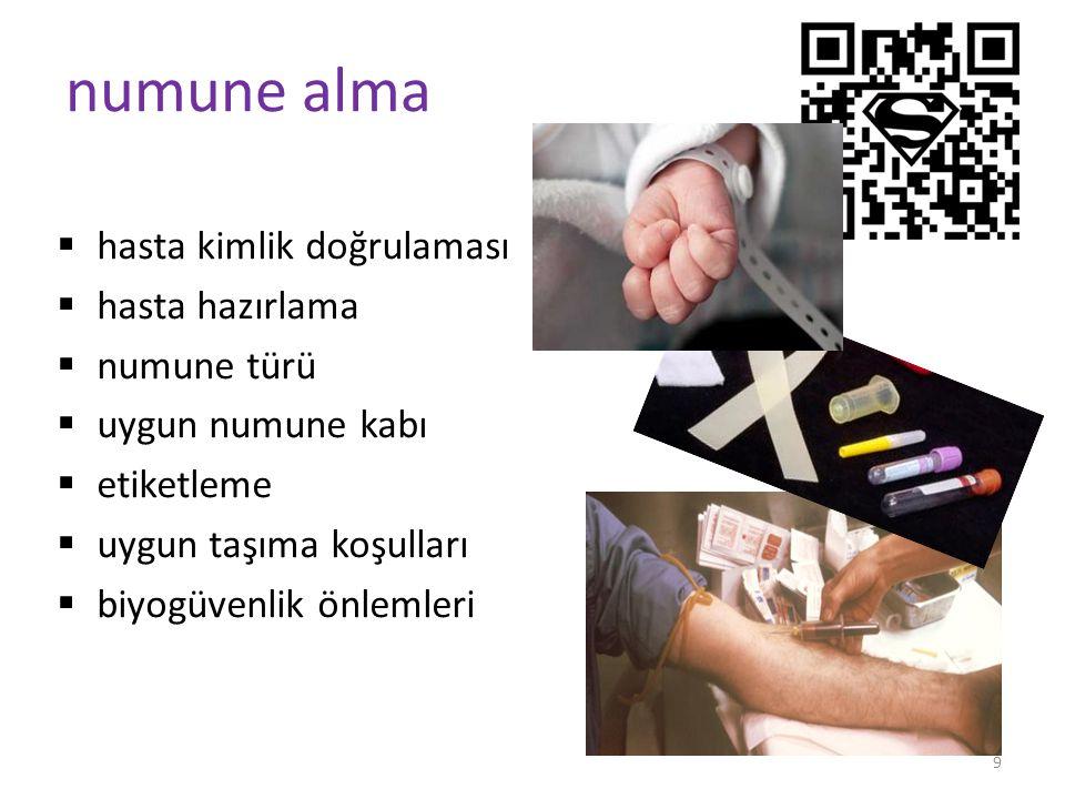 9 numune alma  hasta kimlik doğrulaması  hasta hazırlama  numune türü  uygun numune kabı  etiketleme  uygun taşıma koşulları  biyogüvenlik önlemleri