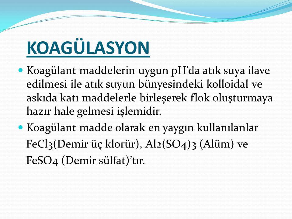 KOAGÜLASYON Koagülant maddelerin uygun pH'da atık suya ilave edilmesi ile atık suyun bünyesindeki kolloidal ve askıda katı maddelerle birleşerek flok oluşturmaya hazır hale gelmesi işlemidir.