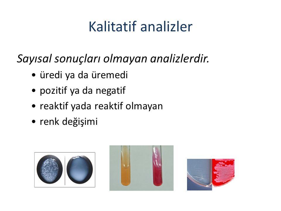 Kalitatif analizler Sayısal sonuçları olmayan analizlerdir. üredi ya da üremedi pozitif ya da negatif reaktif yada reaktif olmayan renk değişimi