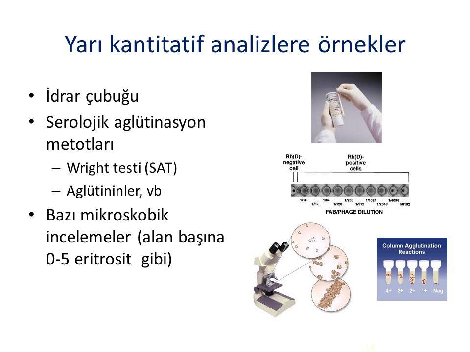 Yarı kantitatif analizlere örnekler İdrar çubuğu Serolojik aglütinasyon metotları – Wright testi (SAT) – Aglütininler, vb Bazı mikroskobik incelemeler (alan başına 0-5 eritrosit gibi) 14