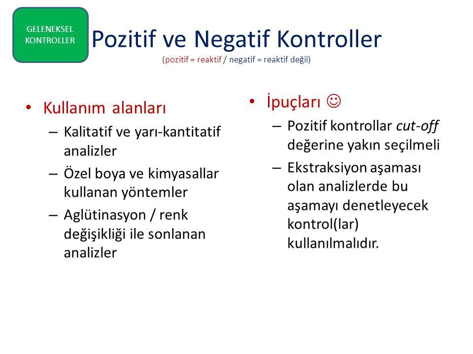 Pozitif ve Negatif Kontroller (pozitif = reaktif / negatif = reaktif değil) İpuçları – Pozitif kontrollar cut-off değerine yakın seçilmeli – Ekstraksi