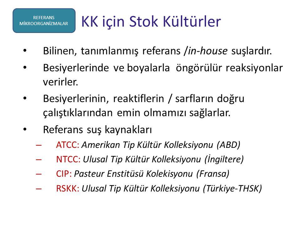 KK için Stok Kültürler Bilinen, tanımlanmış referans /in-house suşlardır. Besiyerlerinde ve boyalarla öngörülür reaksiyonlar verirler. Besiyerlerinin,