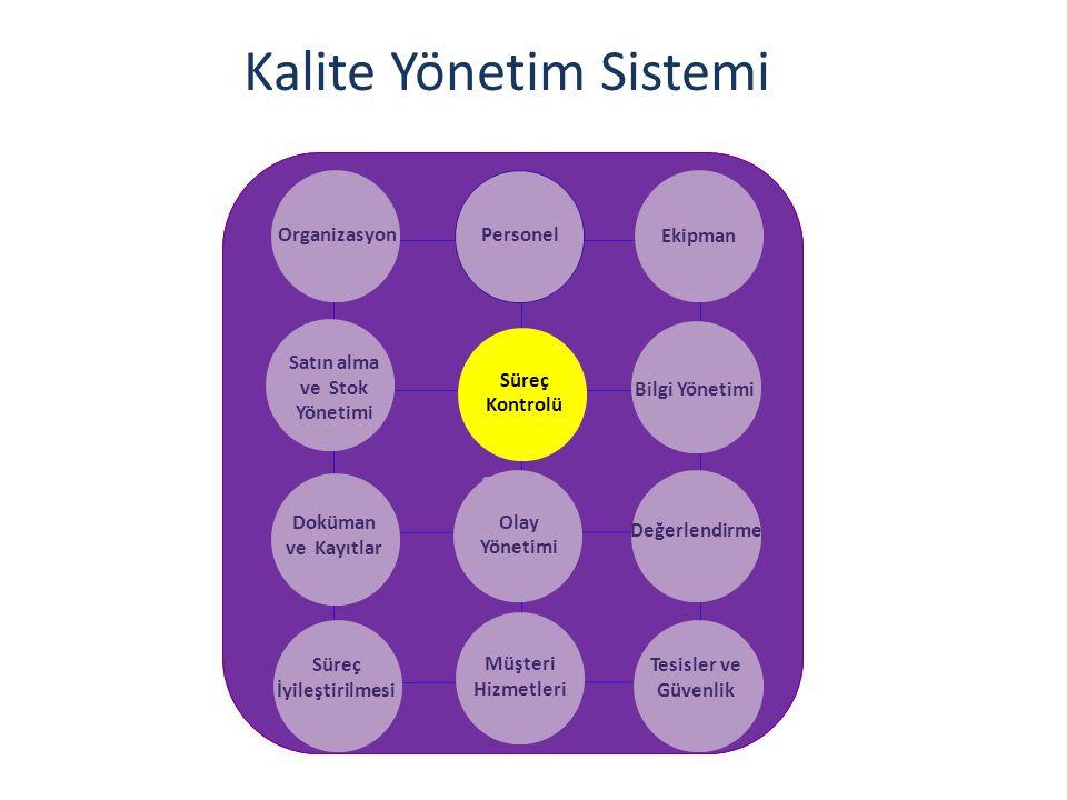 Kalite Yönetim Sistemi OrganizasyonPersonel Ekipman Satın alma ve Stok Yönetimi Bilgi Yönetimi Doküman ve Kayıtlar Olay Yönetimi Değerlendirme Süreç İyileştirilmesi Müşteri Hizmetleri Tesisler ve Güvenlik Süreç Kontrolü