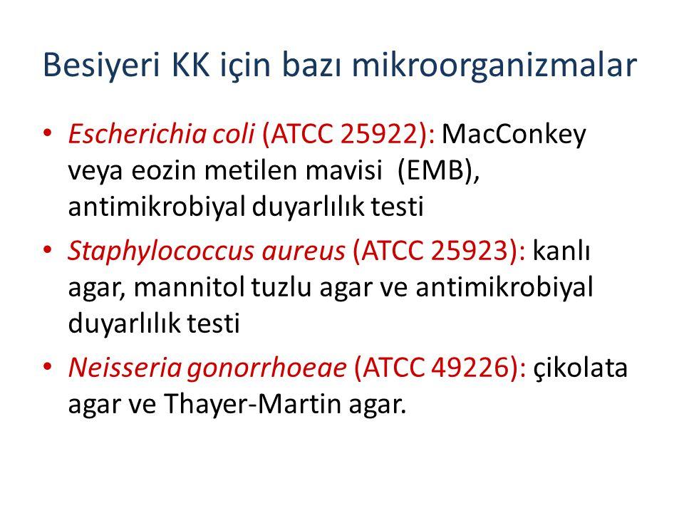 Besiyeri KK için bazı mikroorganizmalar Escherichia coli (ATCC 25922): MacConkey veya eozin metilen mavisi (EMB), antimikrobiyal duyarlılık testi Staphylococcus aureus (ATCC 25923): kanlı agar, mannitol tuzlu agar ve antimikrobiyal duyarlılık testi Neisseria gonorrhoeae (ATCC 49226): çikolata agar ve Thayer-Martin agar.