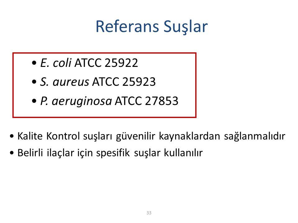 33 Referans Suşlar E. coli ATCC 25922 S. aureus ATCC 25923 P. aeruginosa ATCC 27853 Kalite Kontrol suşları güvenilir kaynaklardan sağlanmalıdır Belirl