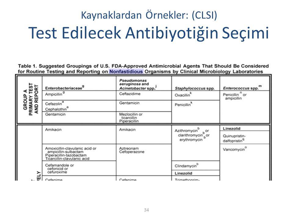 34 Kaynaklardan Örnekler: (CLSI) Test Edilecek Antibiyotiğin Seçimi