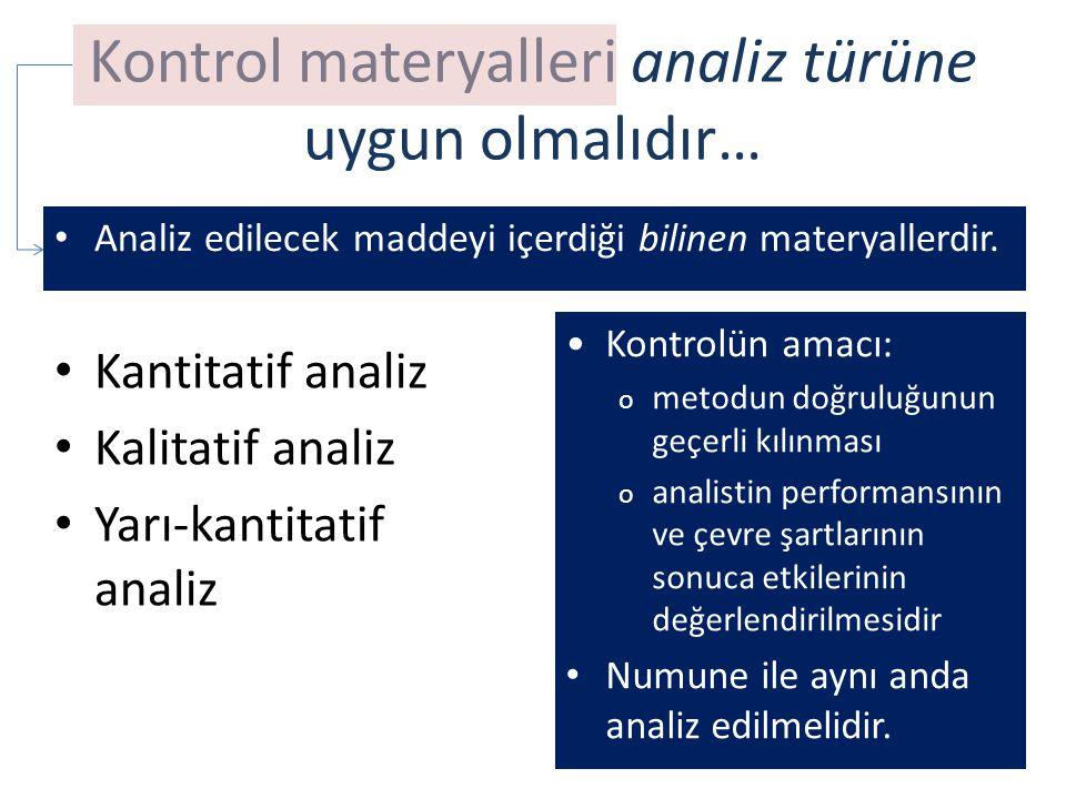 Kontrol materyalleri analiz türüne uygun olmalıdır… Kantitatif analiz Kalitatif analiz Yarı-kantitatif analiz Kontrolün amacı: o metodun doğruluğunun geçerli kılınması o analistin performansının ve çevre şartlarının sonuca etkilerinin değerlendirilmesidir Numune ile aynı anda analiz edilmelidir.