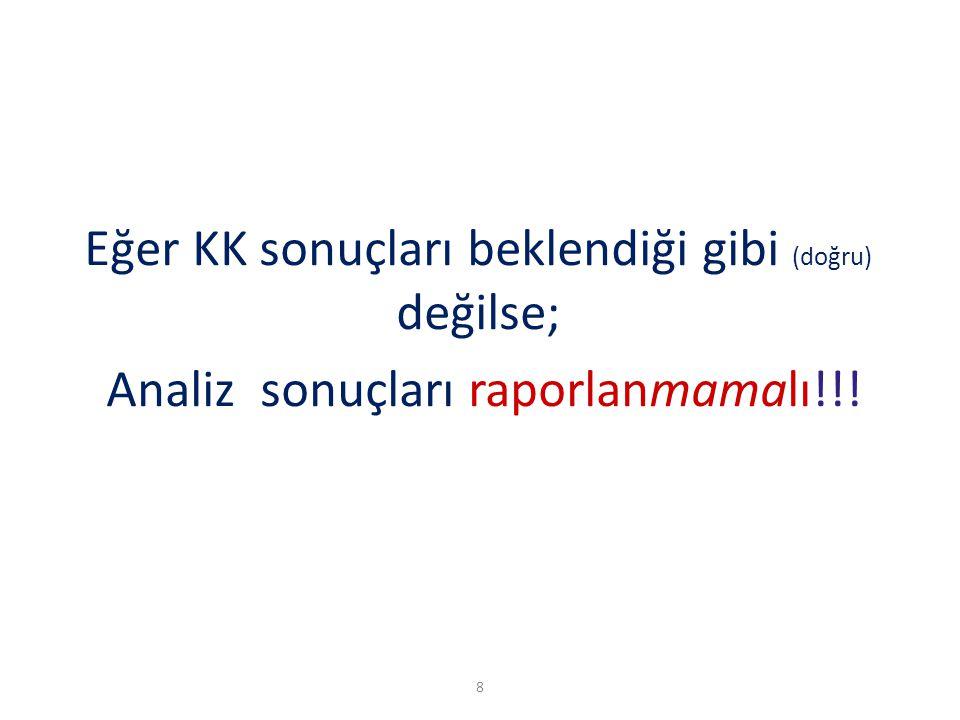 8 Eğer KK sonuçları beklendiği gibi (doğru) değilse; Analiz sonuçları raporlanmamalı!!!