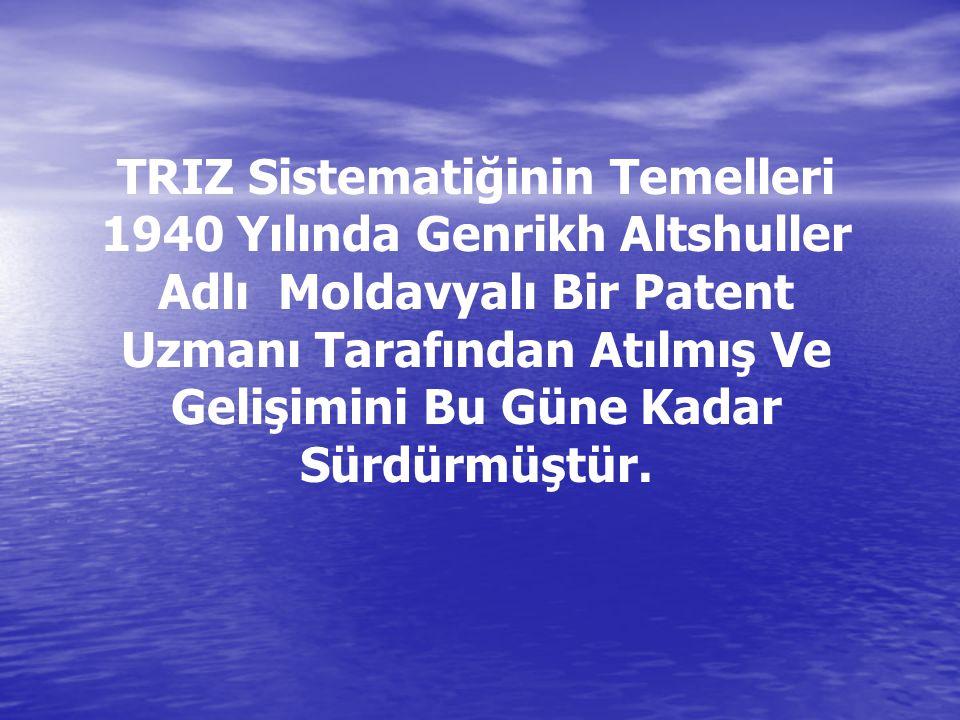 TRIZ Sistematiğinin Temelleri 1940 Yılında Genrikh Altshuller Adlı Moldavyalı Bir Patent Uzmanı Tarafından Atılmış Ve Gelişimini Bu Güne Kadar Sürdürmüştür.