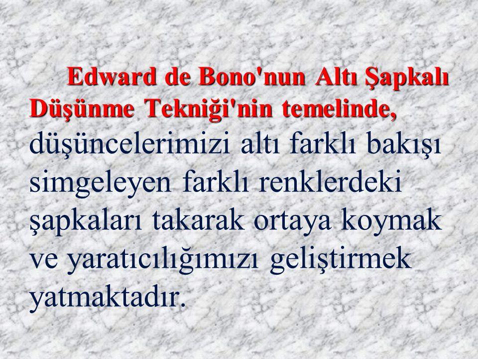 Edward de Bono'nun Altı Şapkalı Düşünme Tekniği'nin temelinde, Edward de Bono'nun Altı Şapkalı Düşünme Tekniği'nin temelinde, düşüncelerimizi altı far