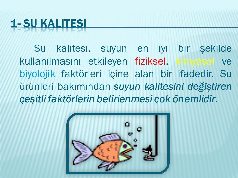 Su sıcaklığı, balıklar üzerinde etkisi en önemli olan ve yetiştiriciliği yapılacak türün pazar ağırlığına ulaşma süresini belirleyen su kalite özelliğidir.