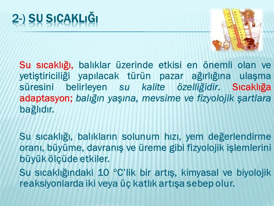 6-) Çözünmüş Oksijen Sudaki çözünmüş oksijen miktarı, su ürünleri üretimini etkileyen en önemli kalite özelliklerinden biridir.