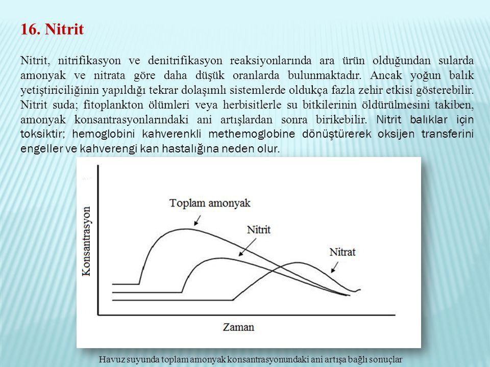 16. Nitrit Nitrit, nitrifikasyon ve denitrifikasyon reaksiyonlarında ara ürün olduğundan sularda amonyak ve nitrata göre daha düşük oranlarda bulunmak