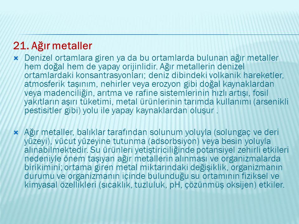 21. Ağır metaller  Denizel ortamlara giren ya da bu ortamlarda bulunan ağır metaller hem doğal hem de yapay orijinlidir. Ağır metallerin denizel orta