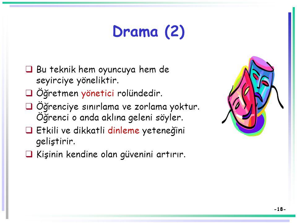 -17- Drama  Drama, önceden yazılı bir metin olmaksızın,  katılımcıların kendi yaratıcı buluşları,  özgün düşünceleri öznel anıları ve bilgilerine dayanarak oluşturdukları  eylem durumları ve doğaçlama canlandırmalarıdır.