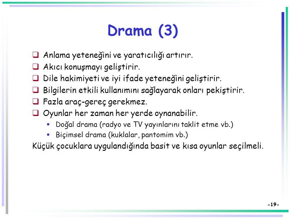 -18- Drama (2)  Bu teknik hem oyuncuya hem de seyirciye yöneliktir.