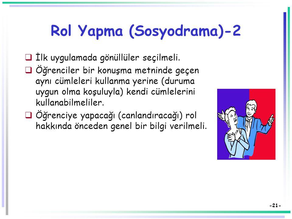 -20- Rol Yapma (Sosyodrama)  Öğrenci kendi duygu ve düşüncelerini başka bir kişiliğe girerek ifade eder.