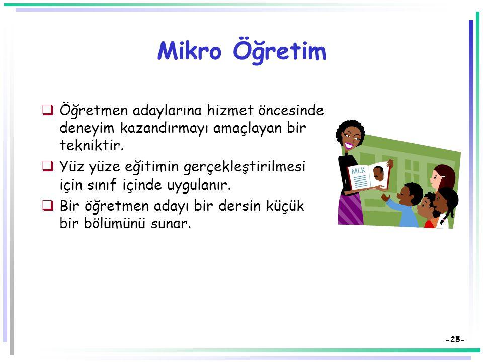 -24- Benzetim (2)  Öğrencilerin rolleri, işlevleri, görev ve sorumlulukları vardır.