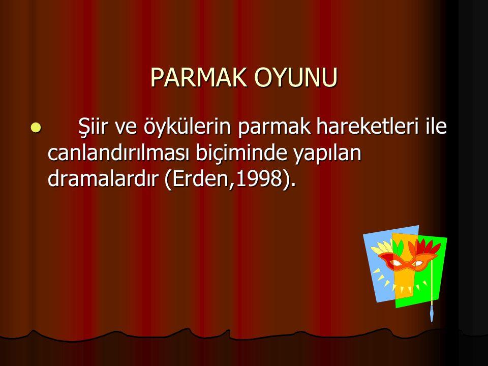 PARMAK OYUNU Şiir ve öykülerin parmak hareketleri ile canlandırılması biçiminde yapılan dramalardır (Erden,1998). Şiir ve öykülerin parmak hareketleri