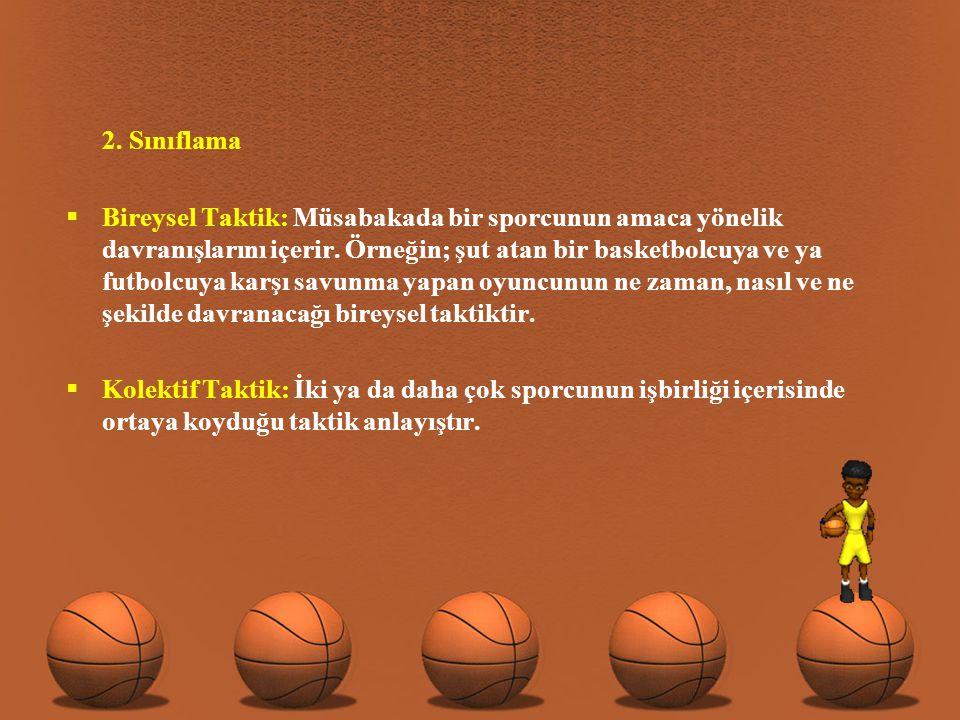 2.Sınıflama  Bireysel Taktik: Müsabakada bir sporcunun amaca yönelik davranışlarını içerir.