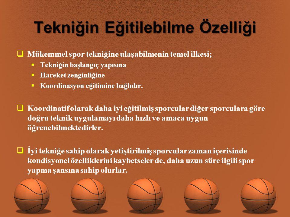 Basketbolda tekniğin öğretiminde kullanılan diğer öğretim metotları ise şunlardır;  Anlatım metodu  Anlatım ve gösterim metodu  Sınama ve yanılma metodu  Görev verme-uygulama-düzeltme tekrar görev verme metodu  Teknik araçlardan yaralanma metodu