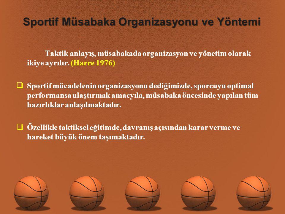 Sportif Müsabaka Organizasyonu ve Yöntemi Taktik anlayış, müsabakada organizasyon ve yönetim olarak ikiye ayrılır.
