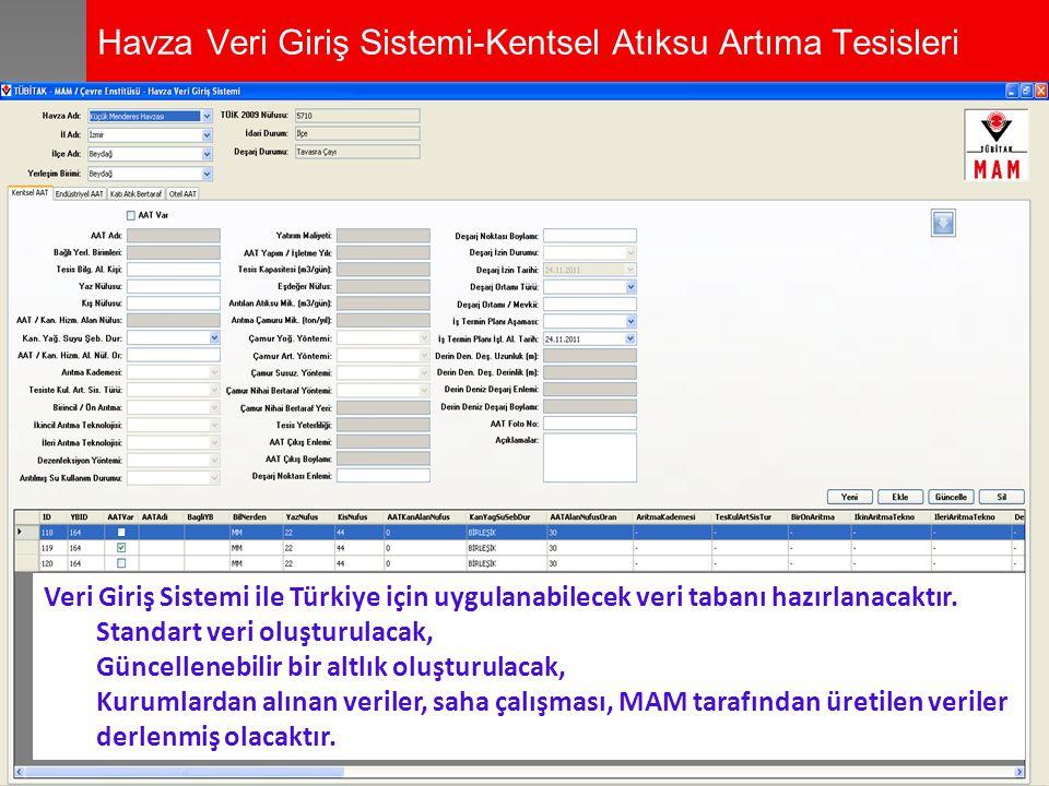 Havza Veri Giriş Sistemi-Kentsel Atıksu Artıma Tesisleri Veri Giriş Sistemi ile Türkiye için uygulanabilecek veri tabanı hazırlanacaktır. Standart ver