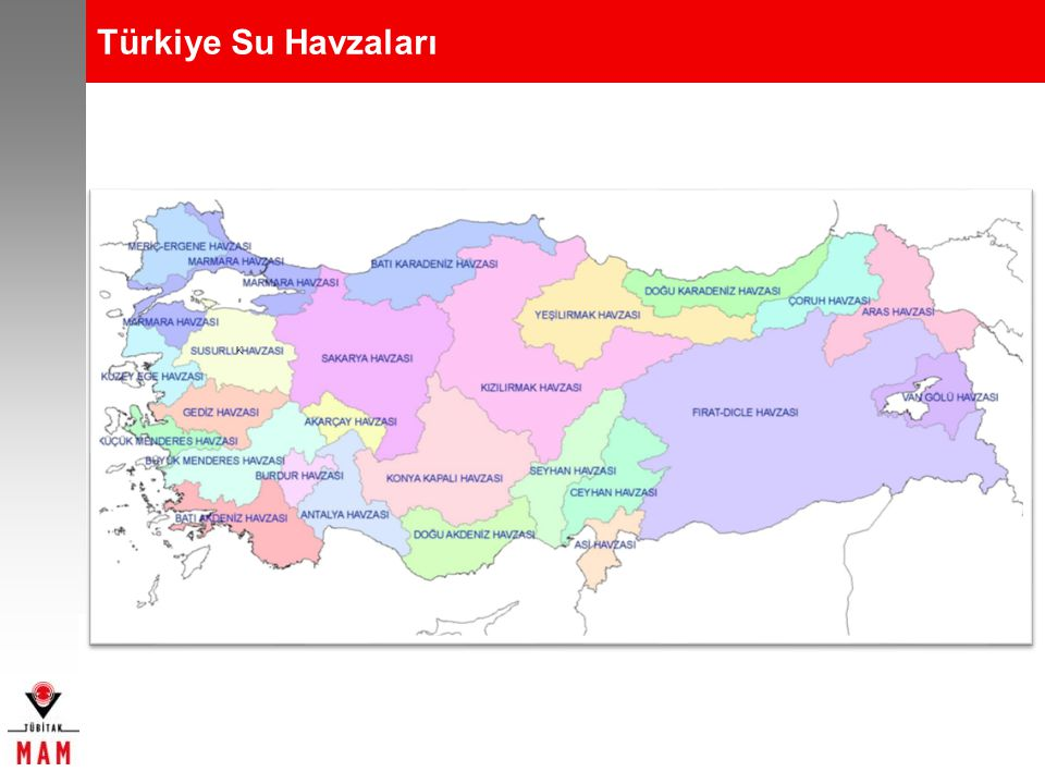 Türkiye Su Havzaları Havzadaki su kalitesi, kirletici kaynaklar, korunan alanlar ve içme suyu kaynakları göz önüne alınarak ülkemiz coğrafyasındaki 25