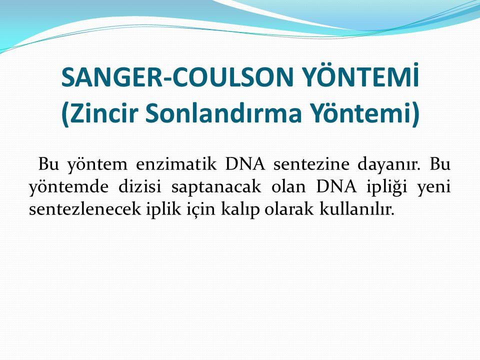 SANGER-COULSON YÖNTEMİ (Zincir Sonlandırma Yöntemi) Bu yöntem enzimatik DNA sentezine dayanır. Bu yöntemde dizisi saptanacak olan DNA ipliği yeni sent