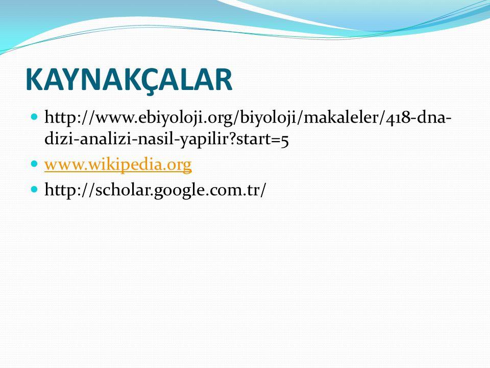 KAYNAKÇALAR http://www.ebiyoloji.org/biyoloji/makaleler/418-dna- dizi-analizi-nasil-yapilir?start=5 www.wikipedia.org http://scholar.google.com.tr/